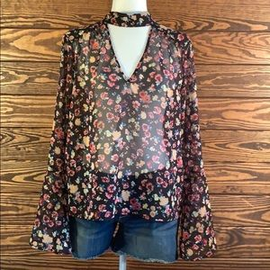 H&C Collection Sheer Floral Blouse Size Large
